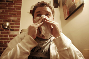 Blowing nose Josh McGinn